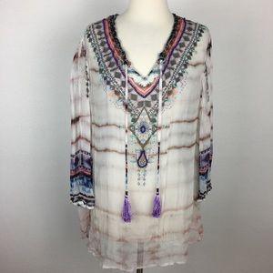 Soft Surroundings Boho Sheer Tunic with Beading 1X